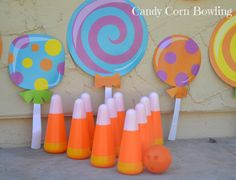 This Fall Bowling Game is a great game to play at your fall festival, in the classroom or at . Fall Candy, Candy Corn, Halloween Themes, Halloween Party, Candyland Games, Fall Festival Decorations, Bowling Party, Soccer Party, Candy Land Theme