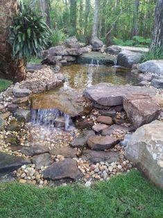 Modern Diy Garden Pond Waterfall Ideas For Backyard 07 Backyard Water Feature, Ponds Backyard, Backyard Ideas, Koi Ponds, Backyard Waterfalls, Garden Ponds, Backyard Stream, Concrete Backyard, Terraced Backyard