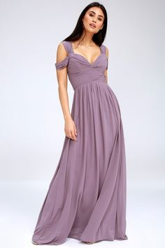 Lulus Exclusive! You'll be the hit of any dance floor in the Make Me Move Dusty Purple Maxi Dress! Double shoulder straps lead into a gathered surplice bodice with a sweetheart neckline. Pleated empire waist flows into an elegant woven maxi skirt. Hidden back zipper with clasp.