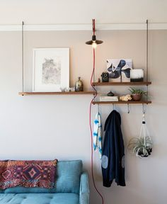 shelves with hooks