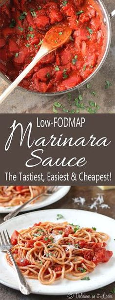 A fantastic Low FODMAP pasta sauce recipe - no onion or garlic needed! Serve over low FODMAP pasta or zucchini noodles for an easy meal! Fodmap Recipes, Diet Recipes, Vegetarian Recipes, Cooking Recipes, Healthy Recipes, Fodmap Foods, Stevia Recipes, Vegetarian Kids, Nutribullet Recipes