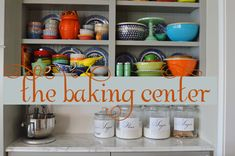 How to set up a baking center in your kitchen with lots of tips on what to store and how to store it.