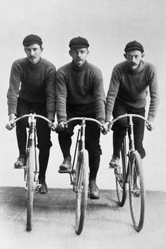 1890's cyclists. Note the Major Taylor Handlebars and the handlebar moustaches. Bicycles were pure sculpture then, and cyclists were eccentrics in a class with Willy Wonka.