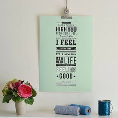 Lyrics from 'feeling good' by Nina Simone. Available in a selection of colours and sizes, framed or unframed.Available in three different sizes, five background colours. We offer a quick and professional framing service across our whole range of prints. Our frames are all handmade in the UK to a very high standard. They come with a child safe perspex glazing which is indistinguishable from glass. We frame our prints in our Surrey studio ourselves to ensure fantastic quality and a speedy…