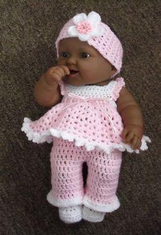 Doll Free Crochet Pattern Free Crochet Doll Clothes Patterns For 12 Inch Dol Crochet Doll Dress, Crochet Doll Clothes, Doll Clothes Patterns, Doll Patterns, Clothing Patterns, Crochet Patterns, Afghan Patterns, Baby Doll Clothes, Baby Dolls