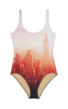 NYC skyline one piece swim suit
