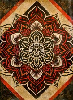 ☯☮ॐ American Hippie Psychedelic Art ~ Lotus Diamond - OBEY Shepard Fairey street artist . . revolution OBEY style, street graffiti, illustration and design posters.