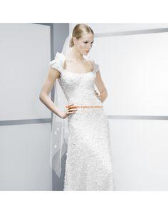 Glamouröse Square-Ausschnitt A-linie Hochzeitskleider aus Chiffon- Jesús Peiró