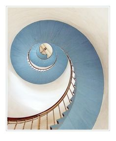 spiral staircase - Eric Dufour  white and blue