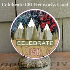 Celebrate 150 Fireworks card to commemorate Canada's 150th birthday, happy Canada Day!  Created with embossing powders and stamps from Emerald Creek Craft Supplies and dies from Tim Holtz, Sizzix and We R Memory Keepers.