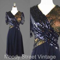 Vintage 60s 1960s Dress S Black Metallic Bronze Sequin Starburst Dress #Unbranded