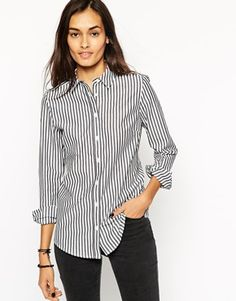 ASOS Long Sleeve Black and White Stripe Fitted Shirt