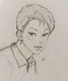 Badass Drawings, Anime Drawings Sketches, Girl Drawings, Drawing Faces, Anime Character Drawing, Character Art, Character Design, Manga Drawing Tutorials, Painting Tutorials