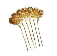 Victorian Hair Comb, Gilt Gold, Filigree, Crown, Chignon, Grecian Inspired, Antique Accessories by zephyrvintage on Etsy