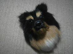 Sheltie Dog Magnet Fur Head Realistic Resin 3D Animal