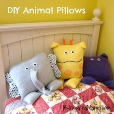 How cute are these?! DIY Animal Pillows and More Patterns to Sew Gifts for Kids at B-Inspired Mama