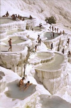 The natural rock pools in Pamukkale, Turkey. #BeTraveling
