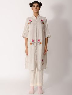 Buy Black White Handwoven Cotton Kurta with Hand embroidered Motif Organic Women Kurtas The Right Side Of Style and embellished khadi separates Online at Jaypore.com