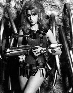 Jane Fonda as Barbarella (Roger Vadim, in Paco Rabanne dress Science Fiction, Fiction Movies, Jane Seymour, Jane Fonda, Gena Rowlands, Faye Dunaway, Barbarella, Michelangelo Antonioni, Marcello Mastroianni