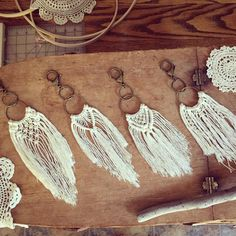 """43 Likes, 2 Comments - Christel Nase (@meadowlanemacrame) on Instagram: """"Busy, busy, busy tying lots of tiny knots ➰➰➰ Prepping for upcoming craft fairs AND getting ready…"""" Crochet Craft Fair, Crochet Crafts, Fabric Crafts, Macrame Purse, Macrame Earrings, Macrame Jewelry, Macrame Projects, Weaving Projects, Micro Macrame"""