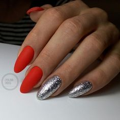 Matte red nails with two silver leaf nails