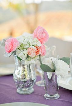 Brides: Metallic Rose and Hydrangea Centerpiece. April Flowers also designed these smaller centerpieces in metallic vases filled with a mix of white-and-pink roses and hydrangeas.