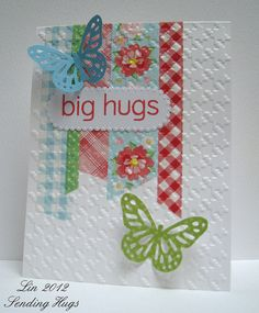 Love the look of the washi tape being embossed with the rest of the cardstock | QuilterLin card