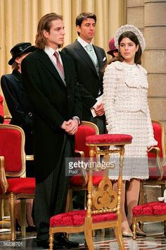 Andrea Casiraghi and Charlotte Casiraghi attend Mass in the Cathedral during Monaco's National Day celebrations which this year doubles as Prince...