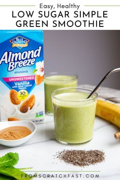 This superpower simple green smoothie is ultra nourishing and delicious (#ad)! It's a low sugar (or no sugar!) green smoothie that's high in protein and fiber. Almond Breeze Unsweetened Vanilla Almondmilk lends creaminess and a delicious flavor without any added sugar. @almondbreeze #greensmoothie #lowsugarsmoothies #healthysmoothie #nosugarsmoothie Gluten Free Drinks, Gluten Free Recipes For Breakfast, Delicious Breakfast Recipes, Yummy Food, Low Sugar Smoothies, Healthy Green Smoothies, Green Smoothie Recipes, Breakfast Dishes, Free Breakfast