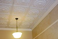 Ceiling panels textured wallpaper and ceilings on pinterest - Can you wallpaper drop ceiling tiles ...