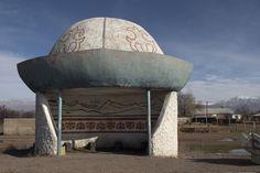 Bus stop shaped like a traditional Kyrgyz hat - Kalpak. Lake Issyk Kol , KIRGIZISTAN - KYRGYZSTAN