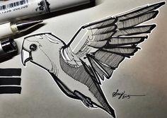 """6""""x4"""" lovebird inky  #ink #illustration #lovebird #bird #birds #copicart"""