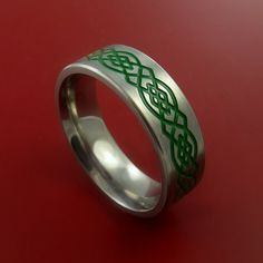 Titanium Celtic Band Infinity Design Ring Any Size 3 to 22 Green, Red, Blue Inlay