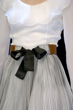 Beautiful white feminine blouse, gathered pin stripe skirt and big bow -lovely