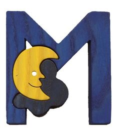 Montessori wooden puzzle letter M(oon), made by hand of maple wood,no harmful colors and no lacquer on Etsy, $6.00