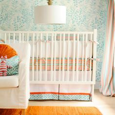 crib sewing idea: white bumper, colorful fitted sheet, white skirt with trim. New Arrivals Crib Bedding Scout @LaylaGrayce