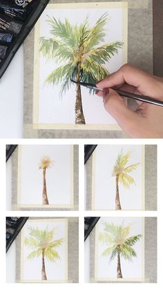 Mini watercolor palm tree painting tutorial with step by step process photos. Mini watercolor palm tree painting tutorial with step by step process photos. Tree Watercolor Painting, Watercolor Cards, Watercolor Landscape, Artist Painting, Watercolor Flowers, Painting Trees, Abstract Landscape, Beach Watercolor, Watercolor Portraits