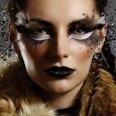 Makeup artist fantasy face art 24 ideas - My best makeup list Owl Makeup, Makeup Art, Hair Makeup, Raccoon Makeup, Makeup Lips, Art Visage, Extreme Makeup, Hallowen Ideas, Fantasy Make Up