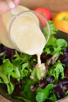 Delicious homemade Apple Vinaigrette made simply in a blender. Few simple ingredients come together in a dressing perfect for summer salads. #saladdressing #dressing #vinaigrette #salad #summerrecipe #summersalad