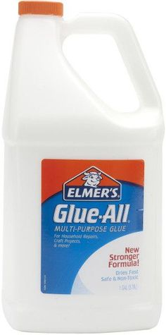 Elmer's Glue All 1 Gallon ELMERS-Glue All. Multi-Purpose Glue. Bonds strong for all your needs. Bonds most porous materials such as paper; cloth and leather; and semi porous materials such as wood and