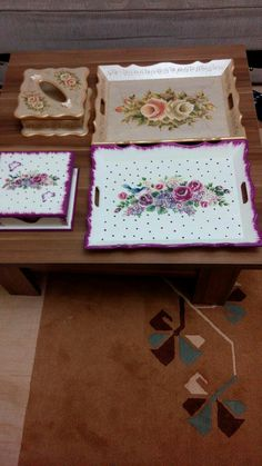 Decoupage Box, Painted Trays, One Stroke Painting, Metal Trays, Wooden Art, Tumblr Wallpaper, Gift Store, Chalk Paint, Decorative Boxes