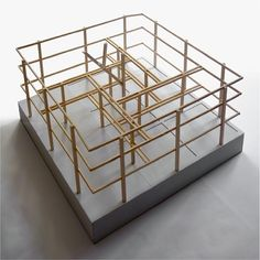 The proposal reads the environment and reinterprets it. The new school is born on the basis of the traditional farm models of this zone. Grid Architecture, Architecture Model Making, Architecture Graphics, Architecture Visualization, Concept Architecture, Architecture Drawings, 3d Modelle, Space Frame, Arch Model