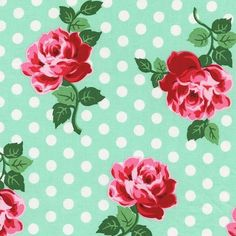 Retro Floral in Aqua Fabric by the Yard | 100% Cotton