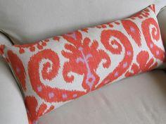 IKAT tangerine/orange and lavendar large sofa pillow by yiayias