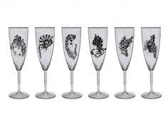 Set 6 kusov pohárov na šampus / 6 rôznych dizajnov Flute, Champagne, Tableware, Dinnerware, Flute Instrument, Dishes, Flutes, Place Settings, Transverse Flute