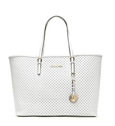 Michael Kors Jet Set Perforated Travel Tote White