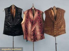 """THREE GENTLEMAN'S VESTS, 19th C   1 c. 1830 speckled brown velvet w/ woven blue & red silk plaid, shawl collar, 3 welted pockets, brown glazed cotton back w/ laces, Ch 35"""", CF L 18.5"""", (1.5"""" tear above left pocket); 1 1850s cotton brocade in gray ombre stripe w/ coral paisley design, choc"""