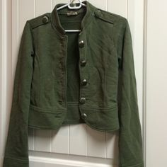 Fossil Army Green jacket Super cute! Large bottle cap buttons Fossil Tops Button Down Shirts