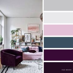 Find color palettes latest trends and explore colorful pretty color combinations for your home wedding etc color palette wedding colors wedding color wedding palette Cashmere rose purple and grey color inspiration Purple Color Schemes, House Color Schemes, Living Room Color Schemes, Living Room Grey, House Colors, Purple Color Combinations, Purple Color Palettes, Purple Palette, Living Rooms