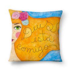 Almofada Deus está comigo! Sementinhas Cor-de-Rosa por Carol Dib.